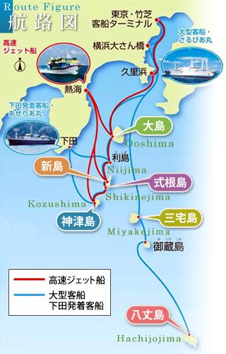 伊豆七島 航路図